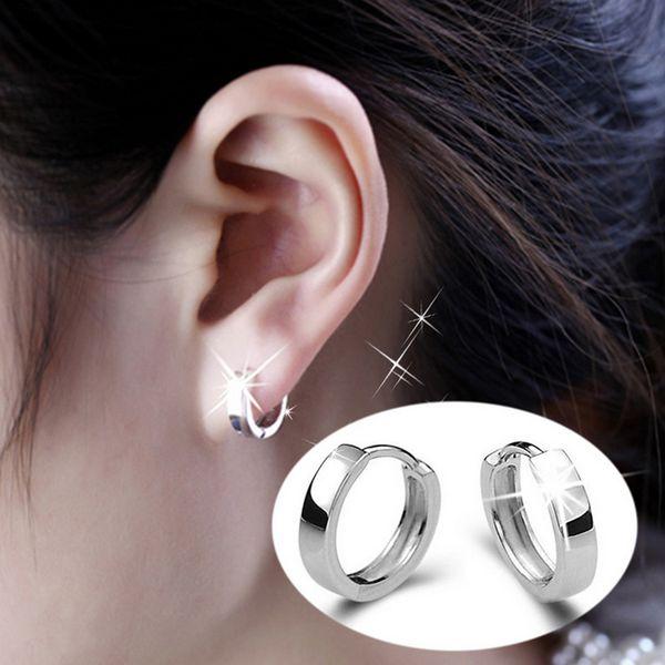 Style coréen plaqué argent brillant boucles d'oreilles unisexe bijoux de charme accessoires oreille-0623