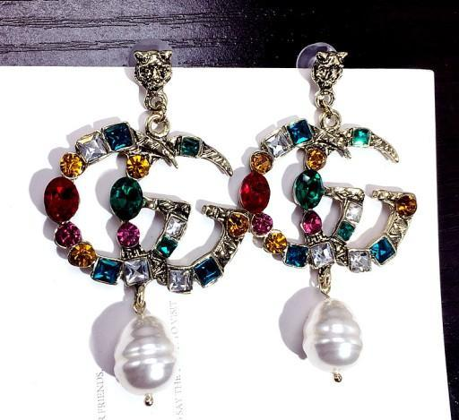 5562 Fashion Double Layers Hollow Letters Ear Studs Clear Crystal Rhinestone Earrings Gold Silver Plated Earring Women Girl Wedding Jewelry