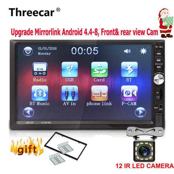 7 '' 2 Din voiture Radio stéréo 1024 * 600 voiture MirrorLink universel Android radio Bluetooth USB automatique double din came vue arrière avant