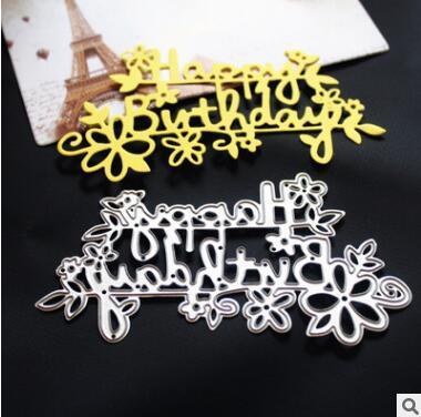 Il taglio del metallo muore Buon compleanno Lettere Sfondo Cornice Scrapbooking fai da te Tagli Biglietto d'auguri Decor goffratura Cartella regalo regalo di compleanno