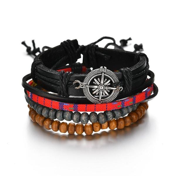 4pcs / set perles en bois cire corde cuir chanvre tressé Bracelet simple en cuir Bracelet multicouche ethnique Bracelate BB135