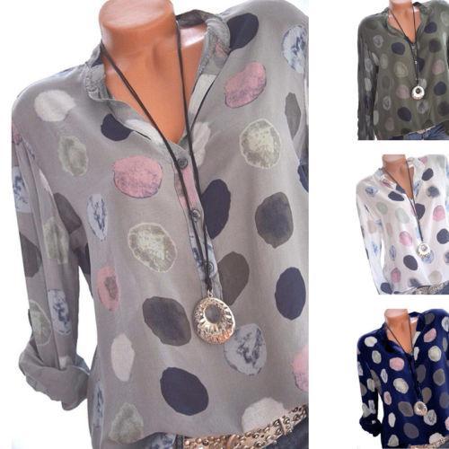 Las nuevas mujeres sueltan la camisa elegante de la señora de la manera blusa con cuello en v impresa llana camisa casual tops de manga larga de verano tops