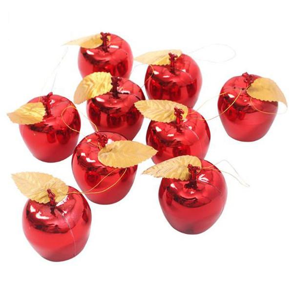 Neue 9 teile / lose Äpfel Christbaumschmuck Party-Events Obst Anhänger Weihnachten Hängende Verzierung Rot Goldene Apple Weihnachtskugel