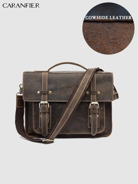 CARANFIER Mens Briefcases Laptop Computer Travel Bags Genuine Cowhide Leather Handbags High Quality Male Shoulder Crossbody Bags