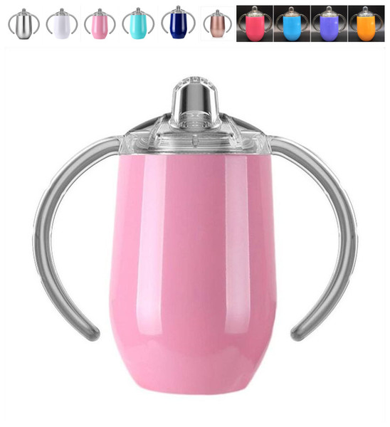 8oz Stainless Steel Sippy Cup Infant Bottle with Sipper Spout Double Wall Vacuum Insulated kid mug metalic color