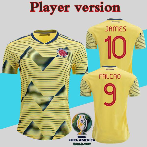 Version des joueurs de Colombie Maillots 2019 Copa America Soccer Shirt Accueil Jaune JAMES Uniforme de l'équipe nationale Plus 10pcs Livraison DHL gratuite