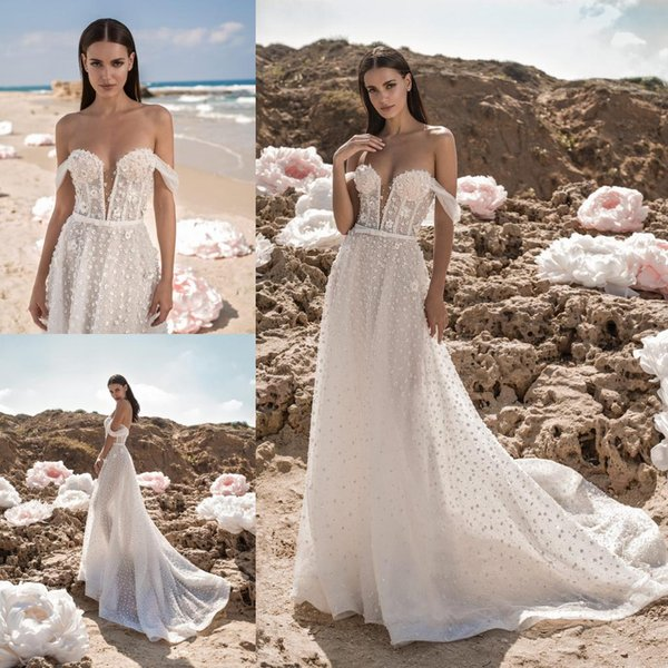 2019 Berta A Line Boho Wedding Dresses Lace Beaded 3D Floral Appliqued Sweep Train Beach Wedding Dress Plus Size Bohemian Bridal Gowns