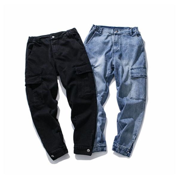 Großhandel High Street Fashion Herren Jeans Schwarz Loose Fit Cargohosen Hombre Knöchel Schnalle Große Tasche Hip Hop Jeans Männer Punk Hosen Von