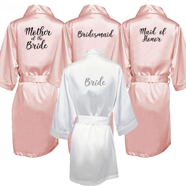 Bride New Bridesmaid Robe With White Black Letters Mother Sister Of The Bride Wedding Gift Bathrobe Kimono Satin Robes