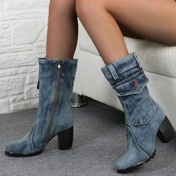 Adisputent Nice Autumn Winter Women Boots Zipper Denim Women Round Toe Cowboy High Heels Shoes Knee High Boots Botas Mujer