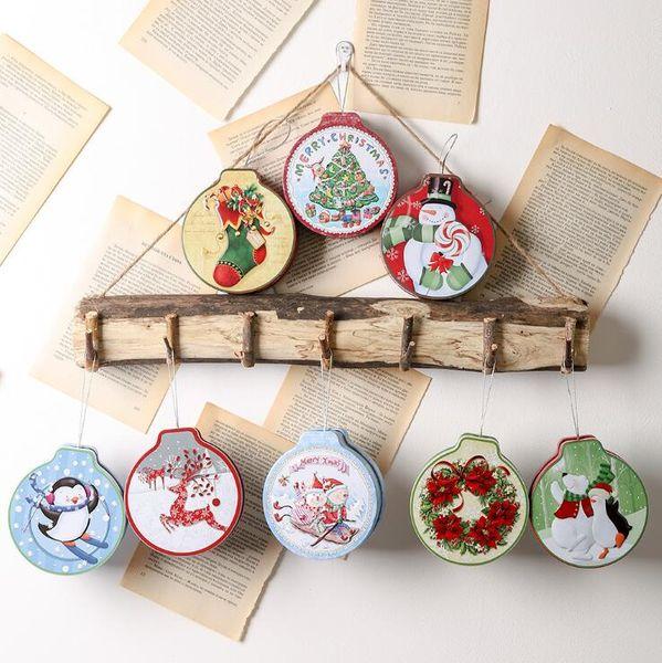 Ev için Noel Hediyesi Kutusu Paketi Teneke Kutu Düğün Şeker Pişirme Kurabiye Bisküvi Vaka Hediye Konteyner Noel Dekorasyon