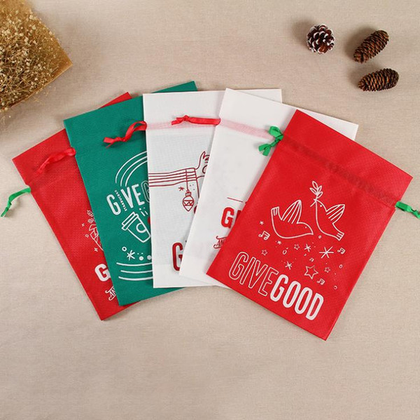 Christmas Candy Sweet Treat Bag Nonwoven Santa Snowman Hand Bags Gift Bags Christmas Decorations Drop Ship