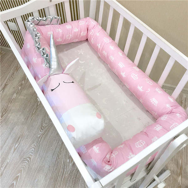 Newest Baby Girls Over-length Unicorn Crib Bumper Pillow Princess Bed Cribs Fencing 100% Cotton Children Bedroom Decorations Kids Bed Sets