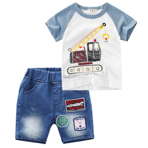 Ins Verão new Meninos Conjuntos de Roupas Dos Miúdos Dos Desenhos Animados Define crianças roupas de grife meninos ternos T shirt + Jeans shorts crianças roupas meninos roupas A4441