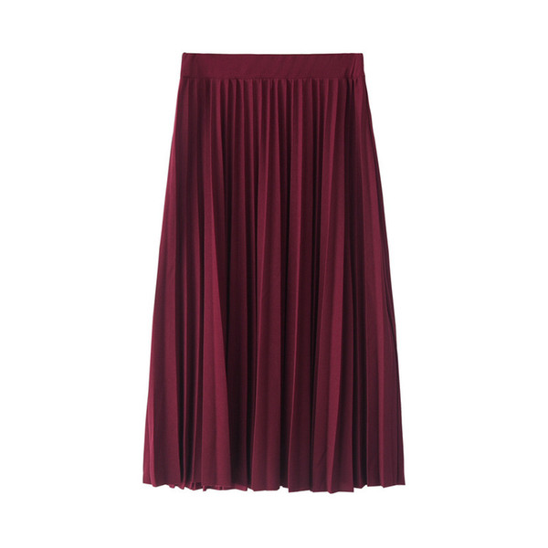 Women's Clothing dress Spring and Autumn new women skirts pink gray half skirt pleated skirt free size