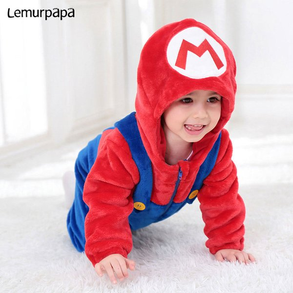Mario Luigi Costume Baby Boy Girl Romper Cute Soft Onesie Winter Warm Playsuit Brother Twins Clothes Anime Funny Hooded SuitMX190912