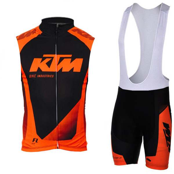KTM team Cycling Sleeveless jersey Vest (bib)shorts sets 9D Gel Pad Hot sale style 2019 Men summer Breathable Cycling Clothing Racing Sport