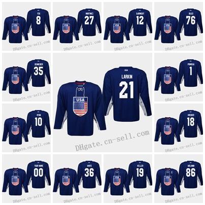 USA 2019 IIHF World Championship Hockey Jersey 88 Patrick Kane 13 Johnny Gaudreau 9 Jack Eichel 76 Brady Skjei 35 Schneider 20 Ryan Suter