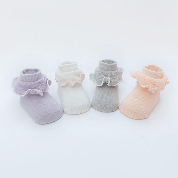 Милый хлопок Белый новорожденный рябить носки дети девушка одежда младенческой Принцесса аксессуары для осени и зимы 0-1-2 лет