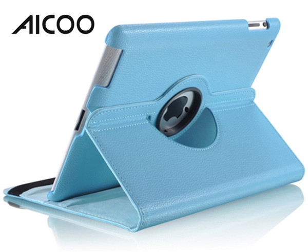 AICOO 360 Grad drehbarer Tablet-Kasten PU-PC-Litschi-Normallack-Fall mit Ständer für iPad OPP
