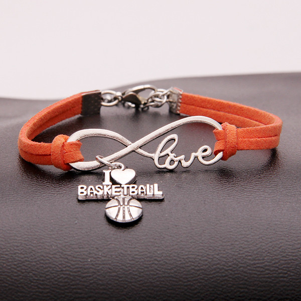 Fashion Accessories Infinity Love I Heart Basketball Multilayer Orange Leather Charm Jewelry For Women Men Drop Shipping Bracelets & Bangles