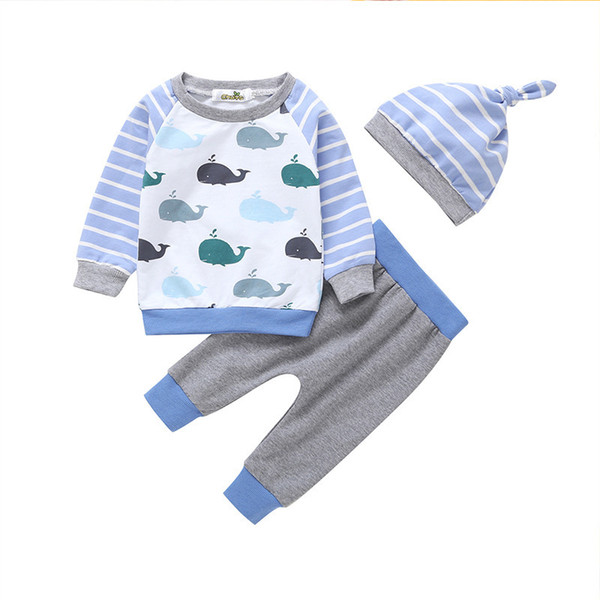 good qulaity infant baby boys clothing set spring autumn cotton t-shirt+pants+hat bebe tracksuit set fashion cartoon newborn suits