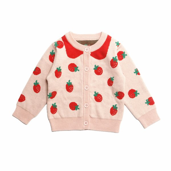 Autumn and winter new girl pink princess knitted jacket female baby cotton small strawberry sweater cardigan