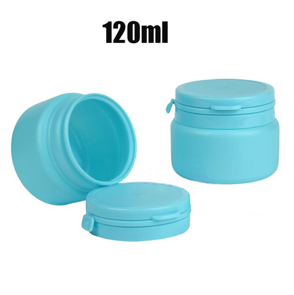 20pcs 120ml Blue Color PE Small Jar, Empty Plastic Bottle, Pills Bottle, Powder Storage, Sample Container With Tearing Cover