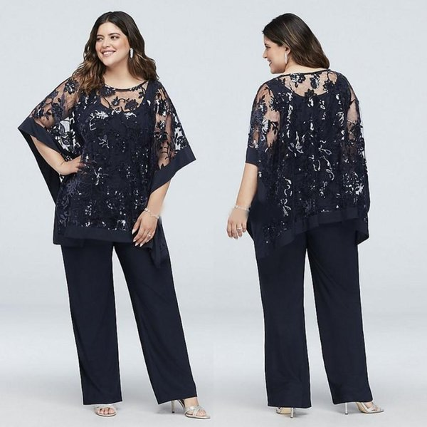 Navy Blue Plus Size Mother Of The Bride Pant Suits With Wrap Sequined  Wedding Guest Dress Three Pieces Chiffon Mothers Groom Dresses Formal  Dresses ...