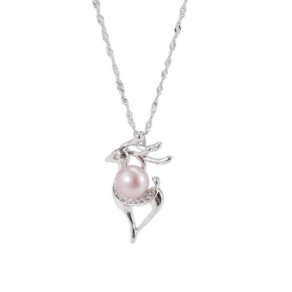 Sólido 925 Plata Esterlina Clave Colgante Collar De Perlas Para Mujeres Regalo De Cumpleaños