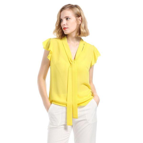 Frauen sommer chiffon bluse büro dame mode kurzarm blusen shirts