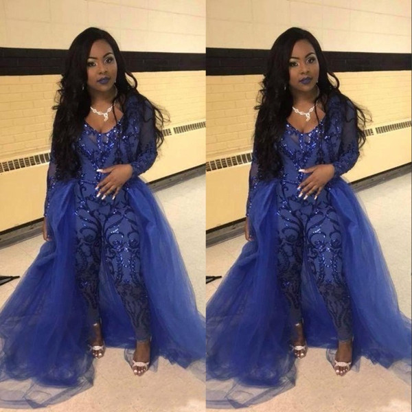2019 Sexy Royal Blue Jumpsuit Prom Dresses With Overskirts V Neck Long Sleeve Sequined Evening Gowns Plus Size Pageant Pants Party Wear