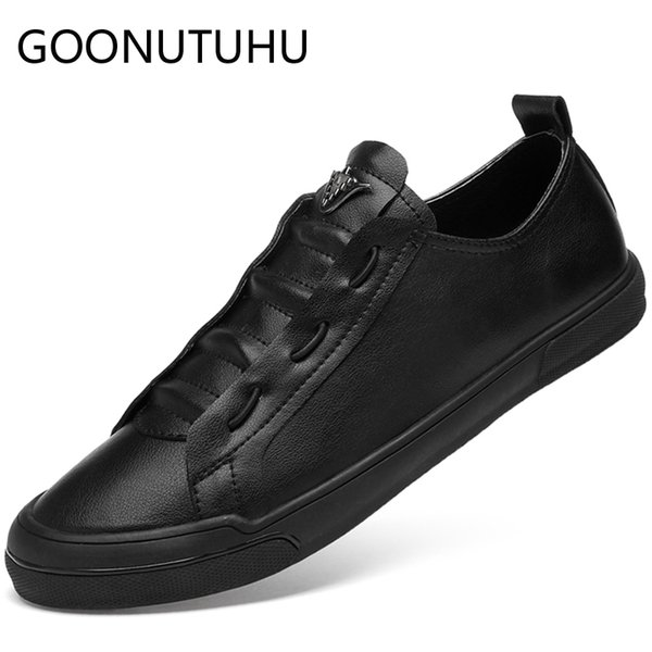 2019 new men's shoes casual genuine leather male white black flat sneakers lace up shoe man nice platform shoes for men hot sale