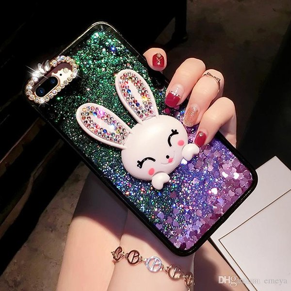 Bling Glitter Dynamic Quicksand Liquid Case For iPhone xs max xr X 6 7 8 6S plus Cute Diamond Rabbit Ear Phone Cases For iPhone 7 8 8Plus