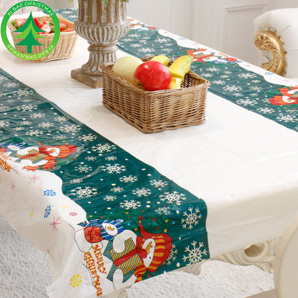 Christmas Table Cloth Pvc Disposable Tablecloth Holiday Festival Decorations Party Tools 4 Colors 110 *180cm Table Runner 2018 Christmas