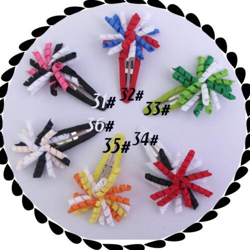 """HOT SALE Baby Good Girl 1.5"""" Corker Hair Bow Snap Clip korker O A- ponytail holders streamer corker curly ribbon hair bows clips 20PCS/"""