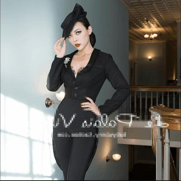 Rétro noir Woollen était mince mode femme sexy 2018 nouvelle profession aronde manteau Hepburn top Costume