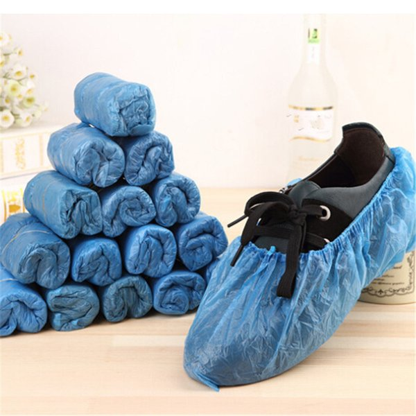 100Pcs/Lot Disposable Plastic Blue Anti Slip Shoe Cover Waterproof Cleaning Overshoes Mud-proof Rain Shoe Protective