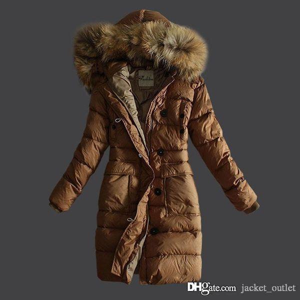 Fashion Winter Long Down Coat Women Fur Slim Brand Designer Hooded Parkas for ladies Luxury Outwear Brown Black Plus Size Cheap Sale