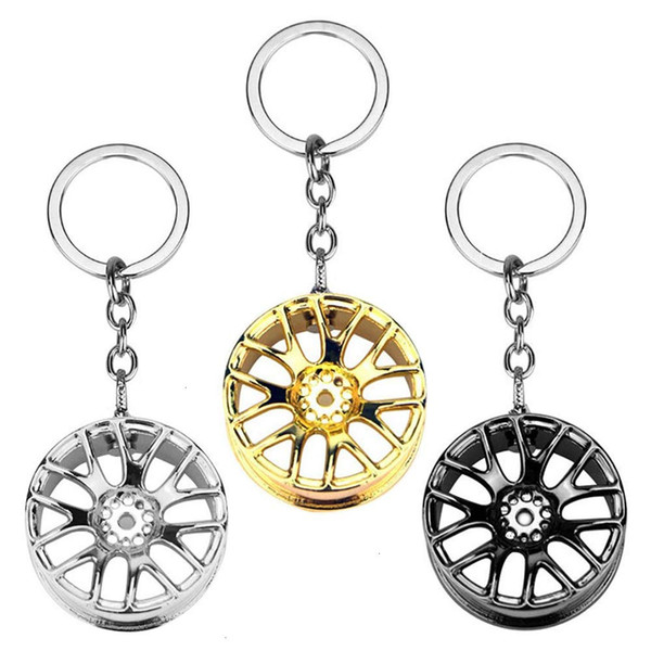 Tire Key Chain Auto Racing Wheel Rim Metal Key Ring Car Accessories Assorted 3 Colors