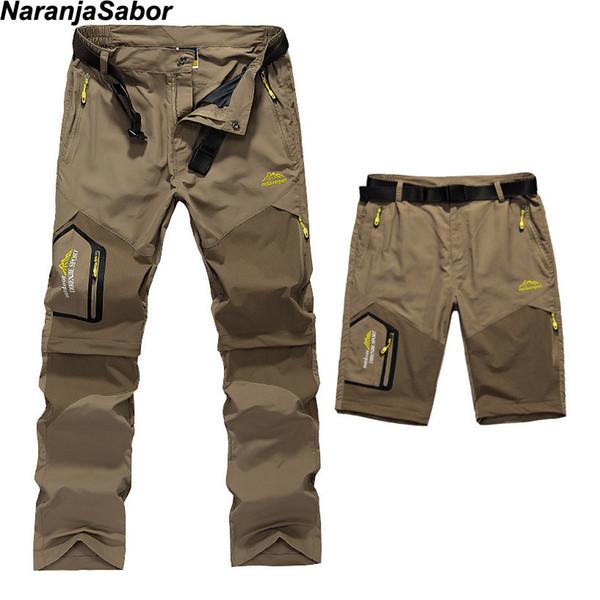 Naranjasabor erkek Çıkarılabilir Hızlı Kuru Rahat Pantolon Ince Pantolon Erkek Ordu Askeri Kısa Kargo Pantolon Erkekler Marka Giyim 5xl Q190514