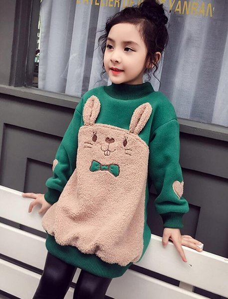 H561 Age 3-14 year old Leisure Lovely Girl Sweatshirt Splice Thicken Child Clothes 2018 Winter Kids Clothes Retail