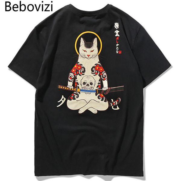 Bebovizi Marca 2018 Estilo Streetwear Japão Ukiyo E Engraçado Samurai Gato Camisetas Dos Homens de Manga Curta T-shirt Hip Hop Bordado Tees Y19072001