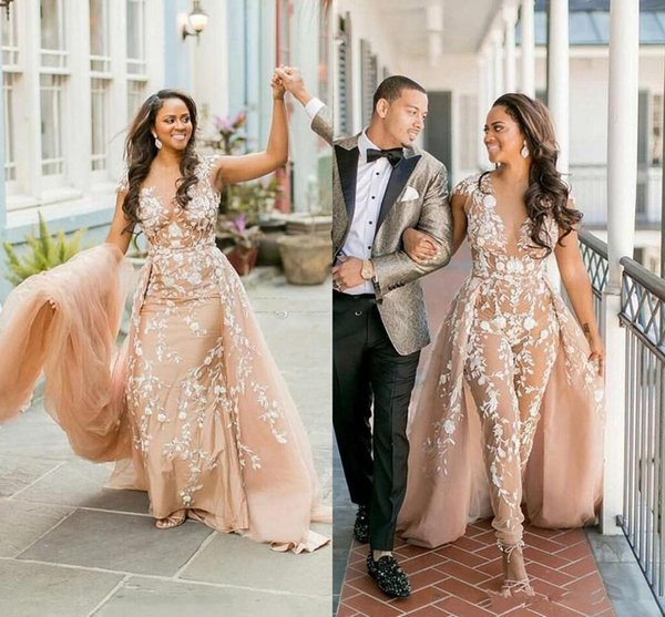 Lace Appliques Women Jumpsuits With Overskirts Illusion Nude Tulle African Wedding Dresses Pant Suits Nigeria Style Bridal Gowns Plus Size
