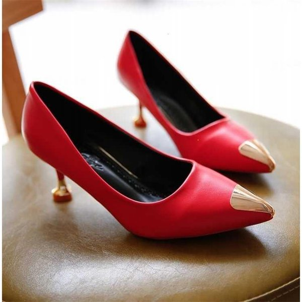 Designer Dress Shoes Women's Pumps Leather Ladies Golden Stilettos High Heels Red Classic Pumps Office party weding Kitten Heels Nude