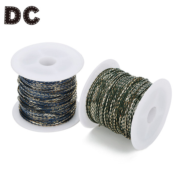 DC 10yard/roll 1mm Width Grinding Skin Necklace Chains White Green Copper Chains fit Charms Pendant Necklace DIY Jewelry Making