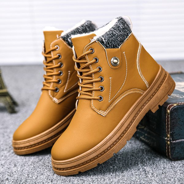 men's men man boy outdoor tooling students wild walk sneakers winter shoes motorcycle western warm snow boots lace up