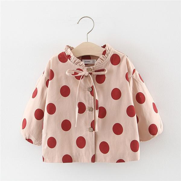 2019 çocuk giyim Kız düz renk büyük nokta tek göğüslü rüzgarlık ceket sonbahar çocuk giyim