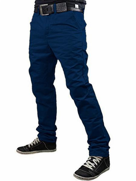 Прямые сплошной цвет мужские брюки дизайнер плюс размер свободные длинные брюки мужская одежда
