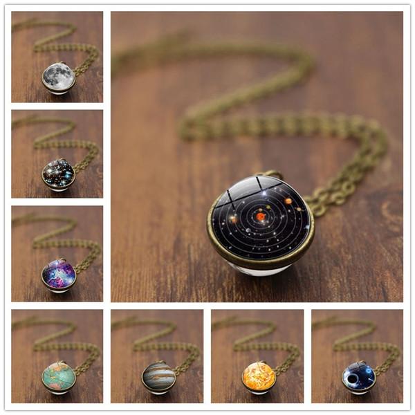 Ожерелье с двухсторонней стеклянной сферой Ретро Цепочка свитера Ожерелье Галактика Млечный Путь